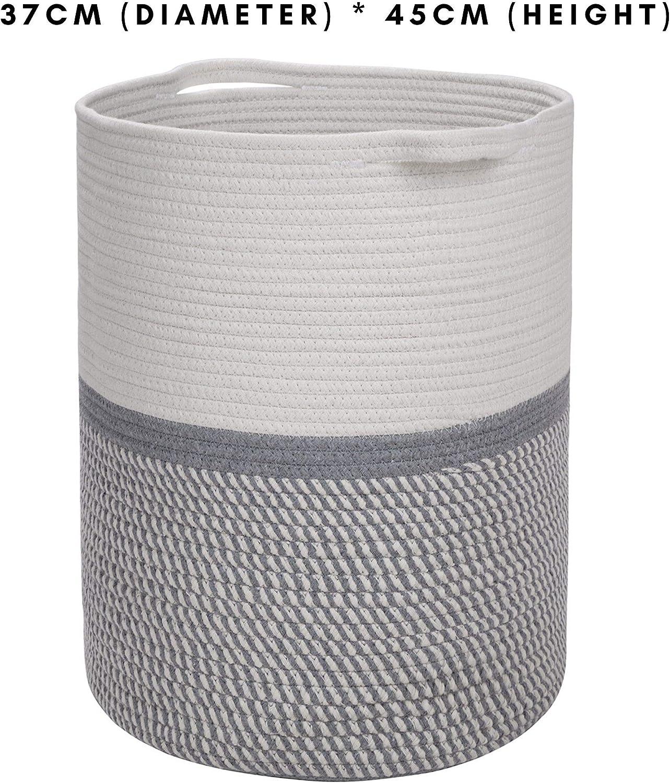 NAAMOO Grand Panier de Rangement en Corde de Coton Naturel avec Fil tiss/é ideal pour chambre denfant et rangement pour jouet de b/éb/é D 35cm H 43cm