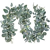 "6'Long 11"" Wide Faux Eucalyptus Greenery Garland Artificial Hanging Mixed Eucalyptus Leaves Vine Garland Table Runner…"