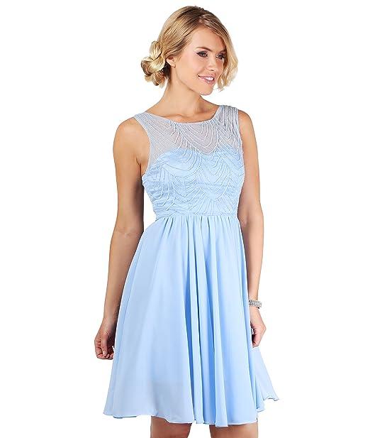 Vestido Cóctel Corto Celeste[Azul Claro,S]