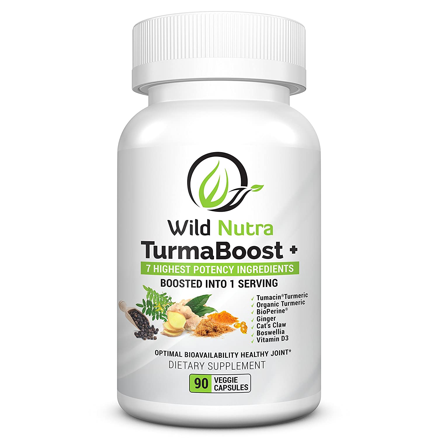 Wild Nutra TurmaBoost – Cats Claw Tumeric Curcumin with extra boosters Turmacin Organic Turmeric, Bioperine Black Pepper, Ginger, Boswellia Vitamin D. Soothe, Joint Support and Vitamins for Knees