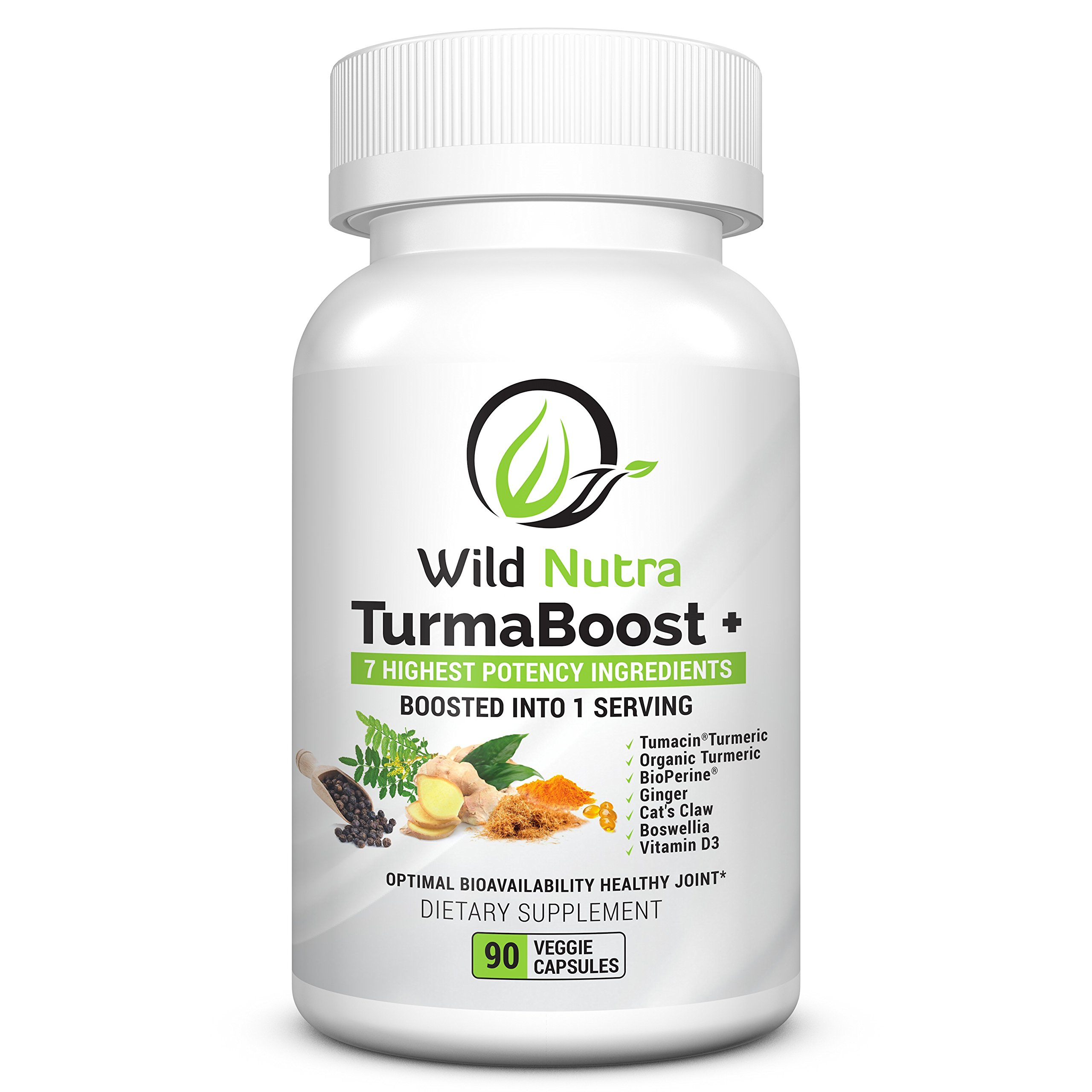 Turmacin® Tumeric Curcumin Supplement with 6 Extra boosters – Cats Claw, Ginger, Boswellia, Organic Turmeric, Black Pepper & Vitamin D. Guaranteed to Help Ease Joint Pain, Hip, Knee and Back Pain.