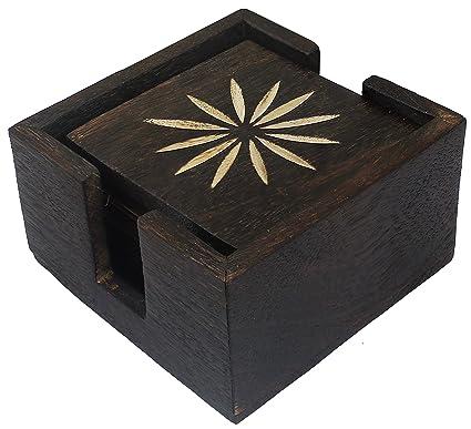 Conjunto de posavasos de madera con 6 posavasos de mesa y soporte de madera decorativo para