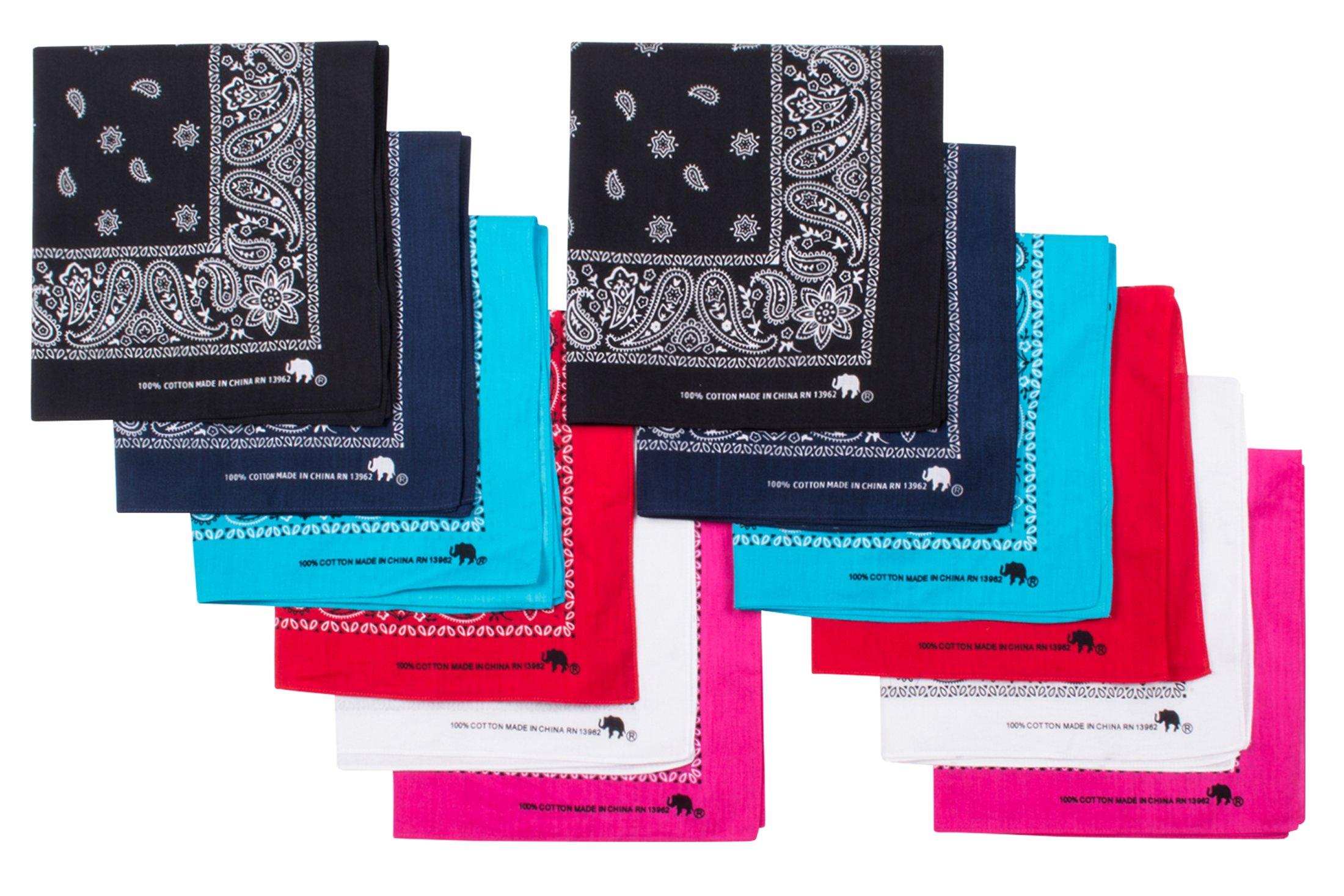 Elephant Brand Bandanas 'Most Popular Colors' 100% Cotton Since 1898-12 Pack