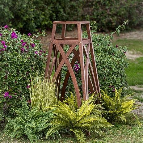 Obelisk Garden Trellis Made Of Wood Eucalyptus In Dark Brown Finish