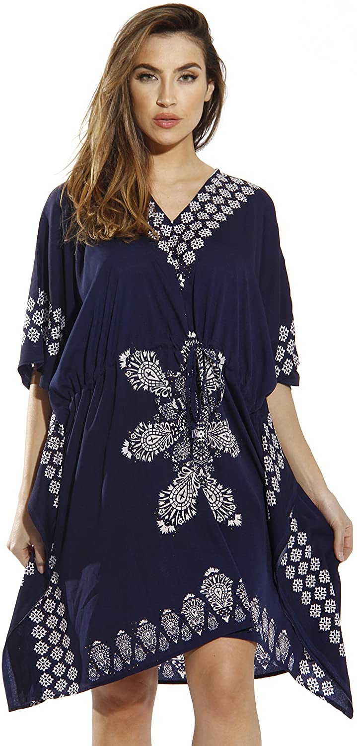 Riviera Sun Women Plus One Free Size Bohemian Glitter Short Caftan Tunic Dress