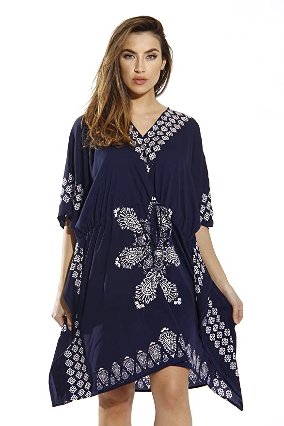 228f9fad52fe3e Riviera Sun Short Caftan Dress for Women with Medallion Print at Amazon  Women's Clothing store: