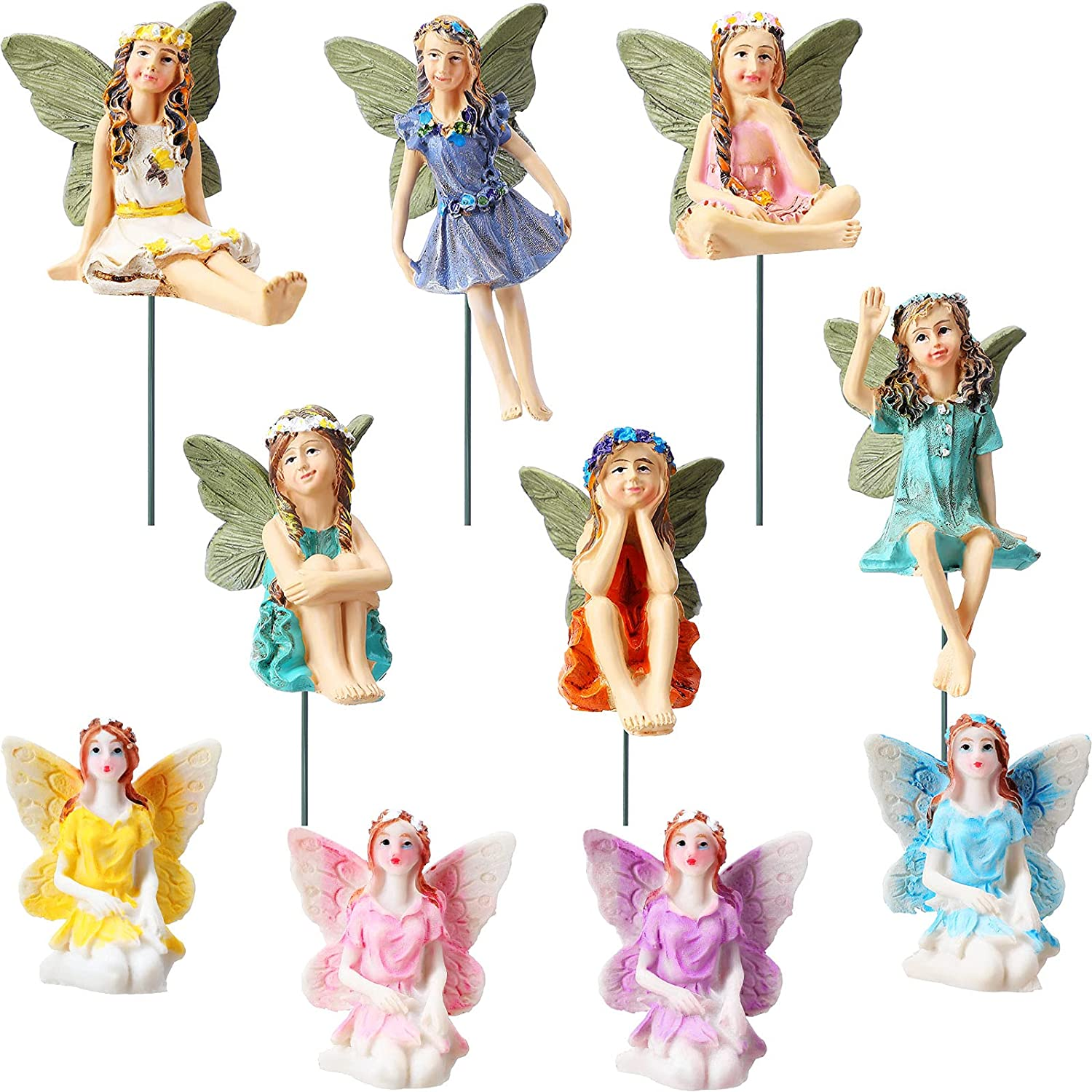 10 Pieces Fairy Garden Resin Garden Fairies Miniatures Figurines Accessories Little Girls Potted Plants Ornaments for Yard Lawn Outdoor Home Decoration