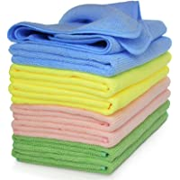 VibraWipe Microfiber Cleaning Cloths, 4 Colors, 8 Pieces, 14.2 In X 14.2 In. Highly Absorbent, Lint And Streak Free…