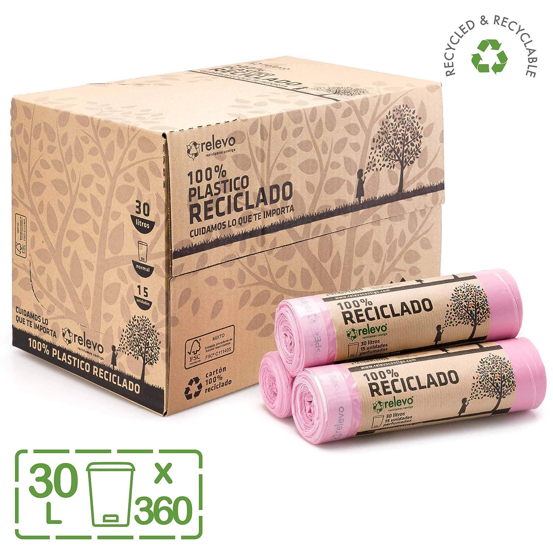 Relevo 100% Reciclado Bolsas Basura Perfumadas, extra resistentes 30 L, 360 bolsas