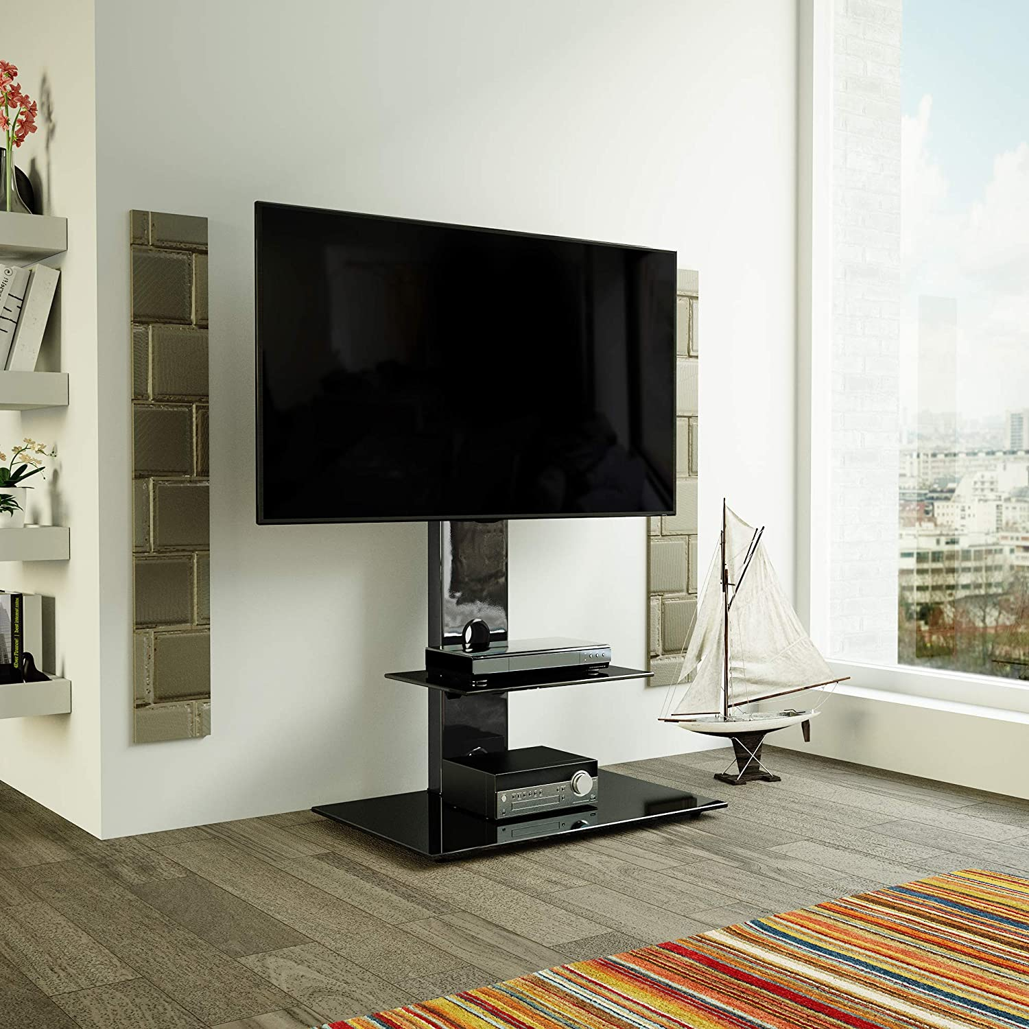Avf Fsl700leb A Lesina Tv Floor Stand With Tv Mounting Column For 32 Inch To 65 Inch Tvs Black Home Audio Theater