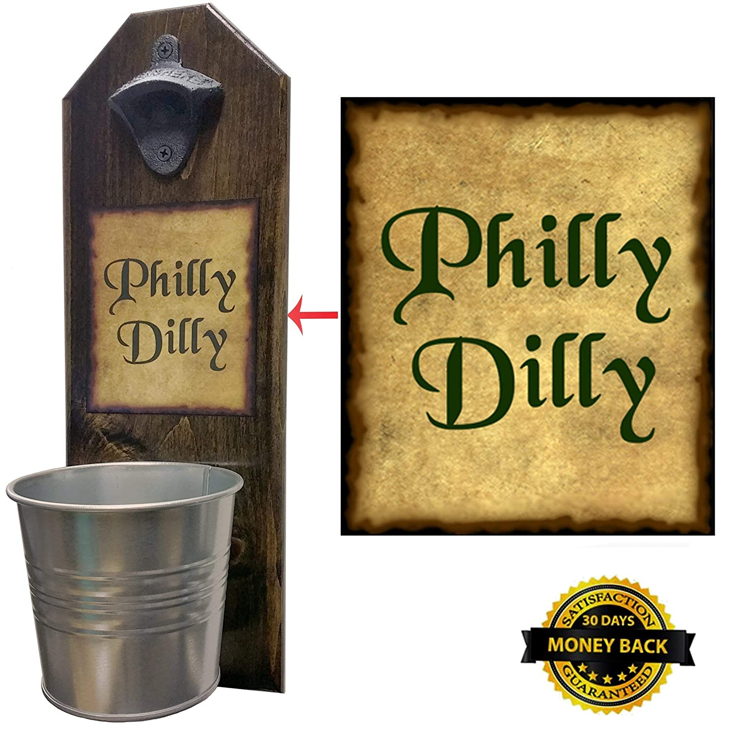 Philly Dilly Beer Bottle Opener and Cap Catcher, Wall Mounted - Handcrafted by a Vet - Solid Pine - Rustic Cast Iron Opener & Galvanized Bucket - Just Twist to Empty - Great Championship Gift!
