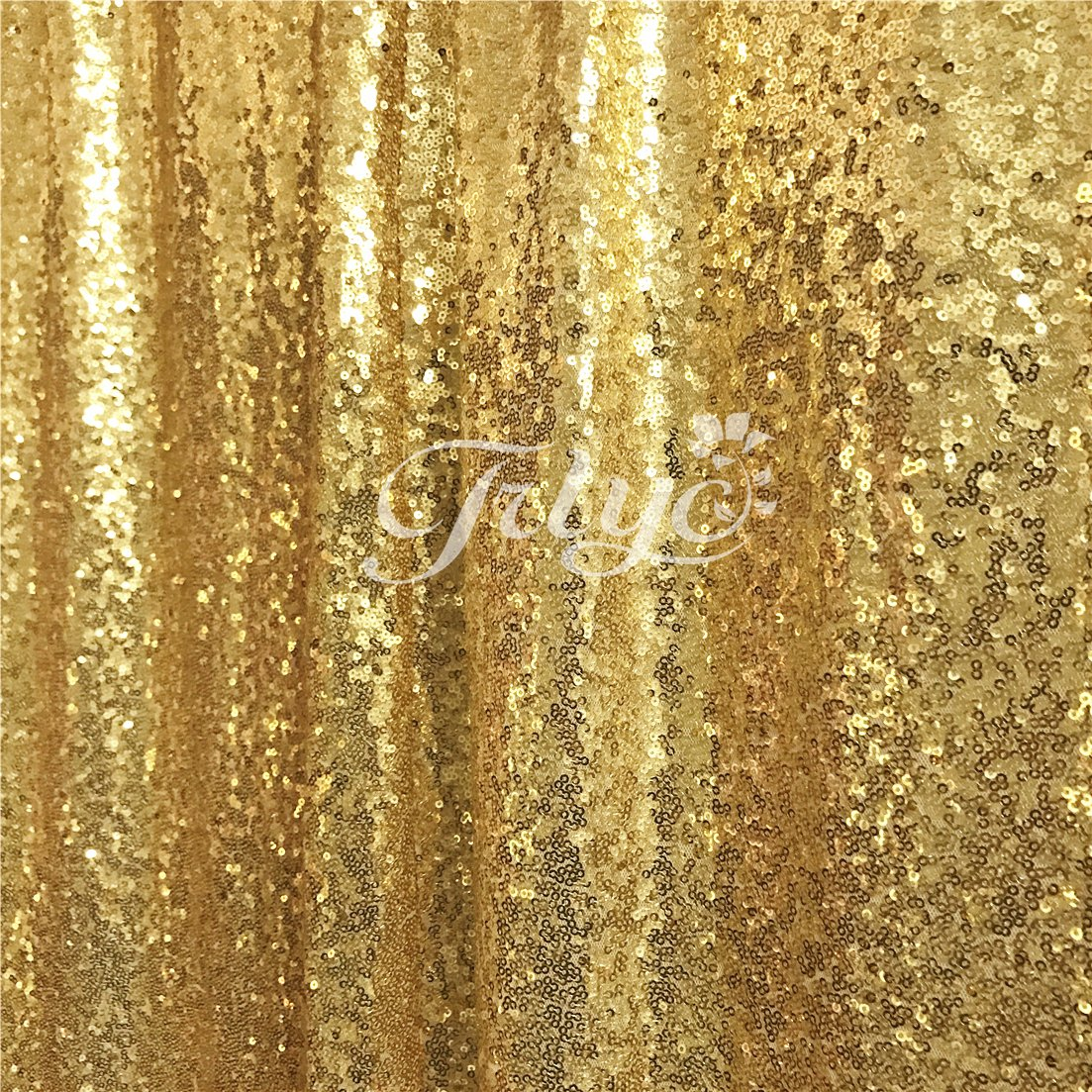 TRLYC 10FT x 10FT Sparkly Photo Booth Backdropゴールドスパンコールウェディングカーテン   B0756D2YKP