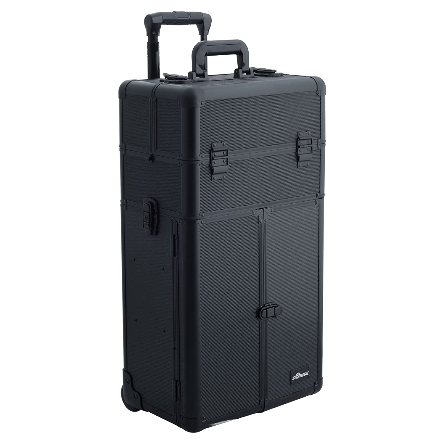 SUNRISE Makeup Rolling Case 2 in 1 Professional Artist I3565, French Doors, 3 Trays and 4 Drawers, Locking with Mirror and Shoulder Strap, Black Dot