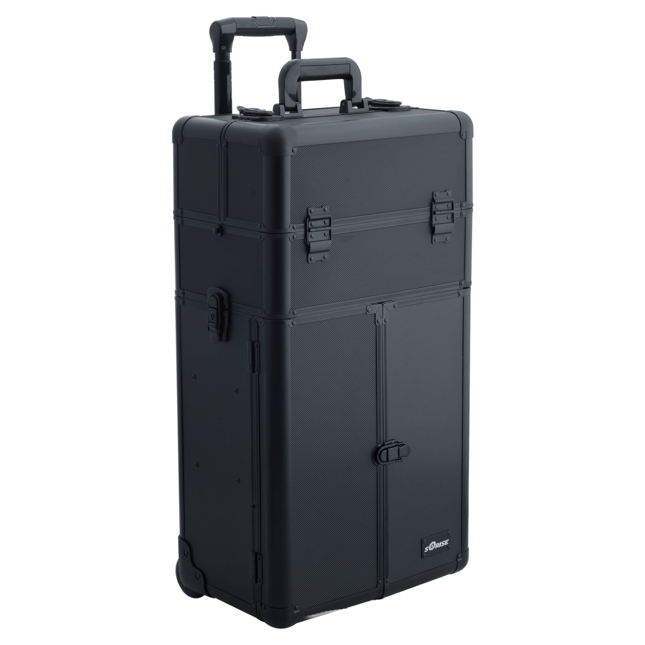 SUNRISE Makeup Rolling Case 2 in 1 Professional Artist I3565, French Doors, 3 Trays and 4 Drawers, Locking with Mirror and Shoulder Strap, Black Dot by SunRise