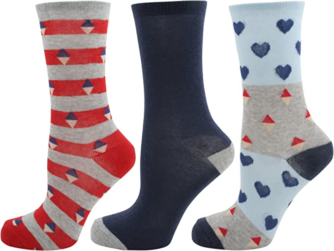 Foxbury Womens 3 Pair Multicolored Designer Cotton Rich Casual Socks For Ladies