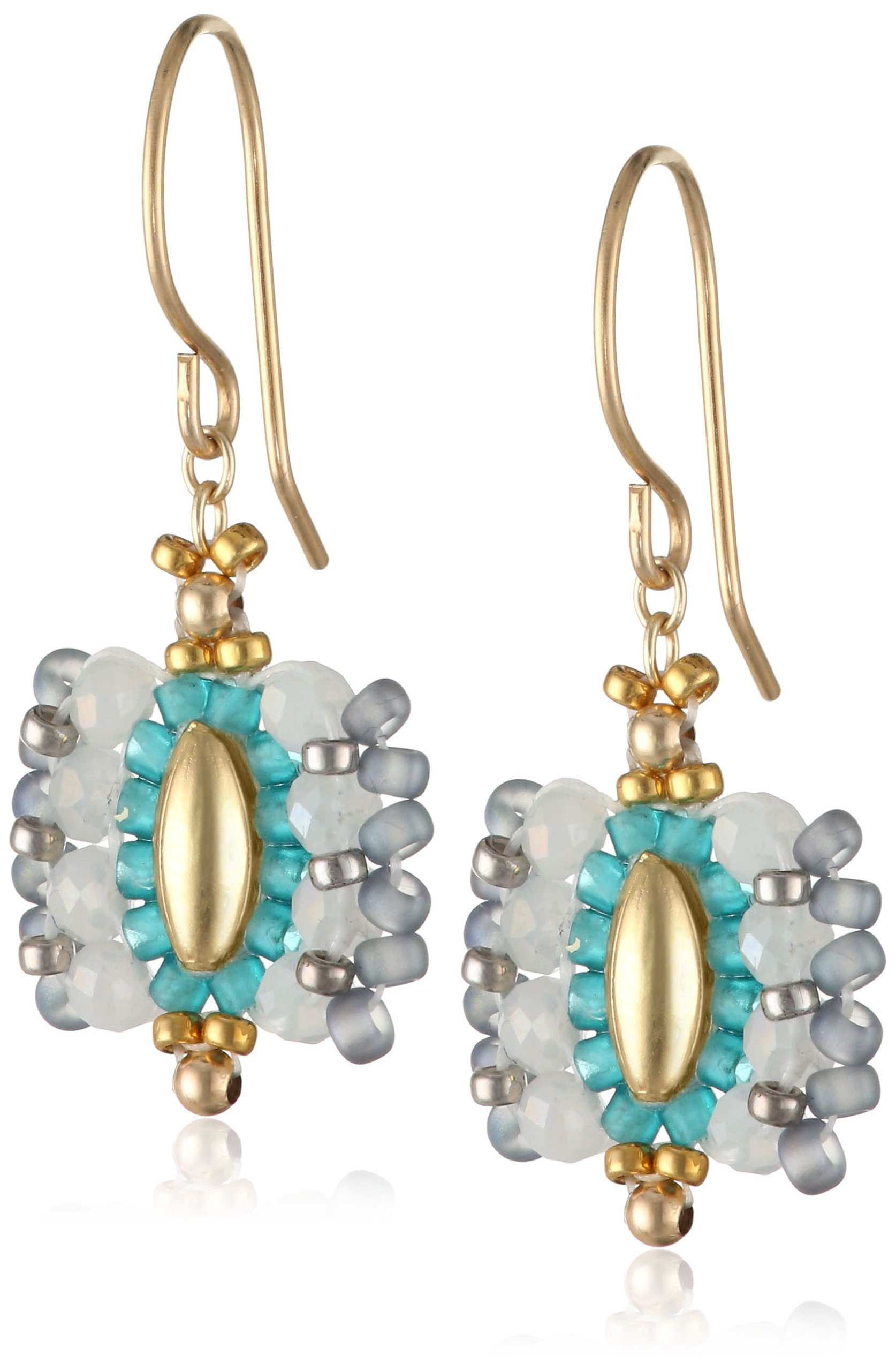Miguel Ases Small Rice Bead Encased Opalite Miyuki Drop Earrings