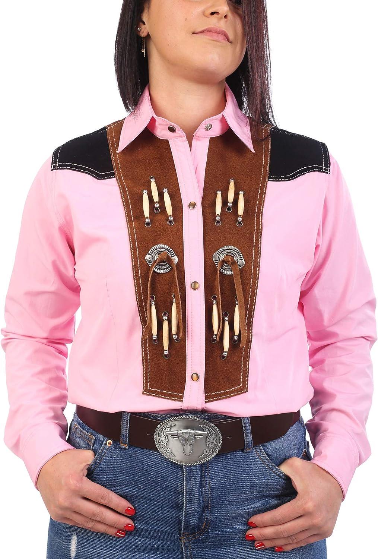 Last Rebels - Camisa Country Line Dance, para Mujer, Rosa, Adorno Americano, Piel Hueso y Conchas: Amazon.es: Ropa y accesorios