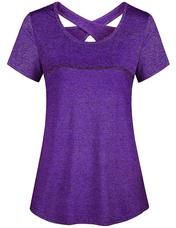 Viracy Women Short Sleeve Round Neck Criss Cross Back Athletic Yoga Shirt