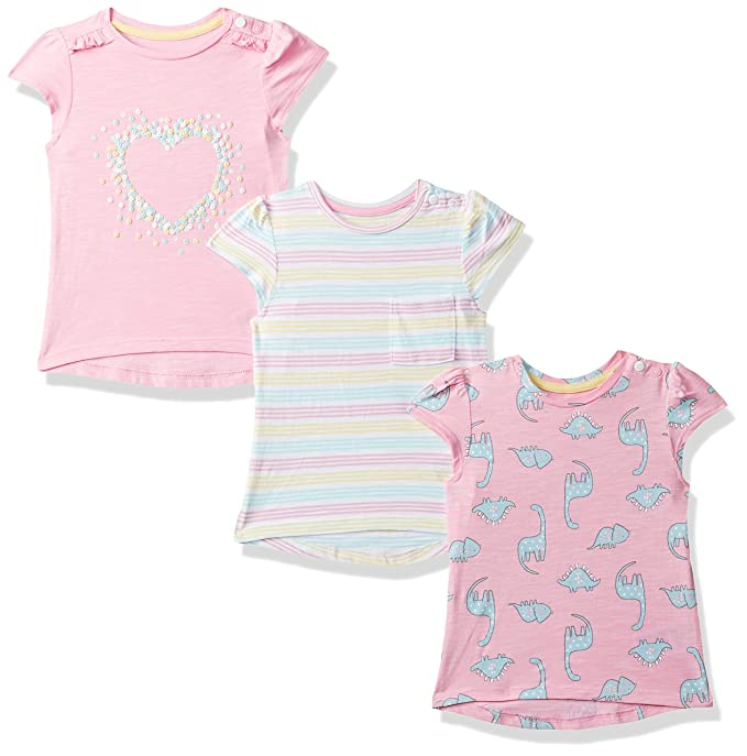 Baby Girls Floral Regular fit T-Shirt (Pack of 3)