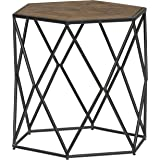 "Amazon Brand – Stone & Beam Industrial Hexagonal Side Table with Solid Wood Top, 22.83""W, Brown and Gray"