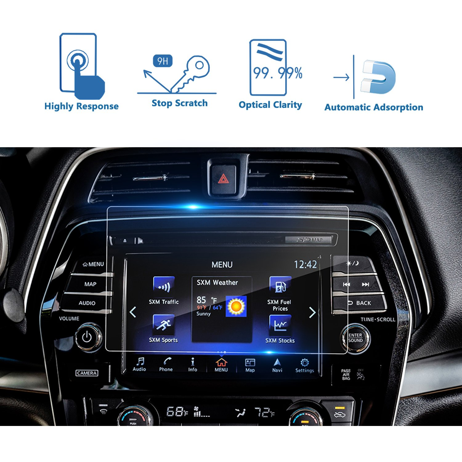 LFOTPP Nissan Maxima Murano 8 Inch 2016 2017 Car Navigation Screen Protector Glass, [9H] Tempered Glass Center Touch Screen Protector Against Scratch High Clarity