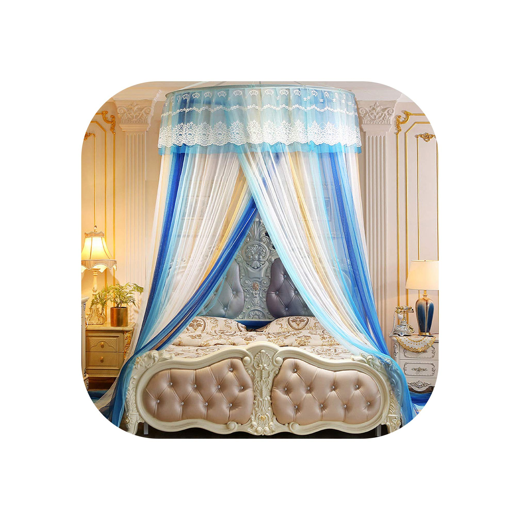 Mosquito net for Double Bed Hanging Dome Kids Baby Bedding Bed Home Decor Repellent Tent Insect Reject Canopy Bed,Blue