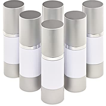 amazon com white airless vacuum pump travel bottles refillable 1
