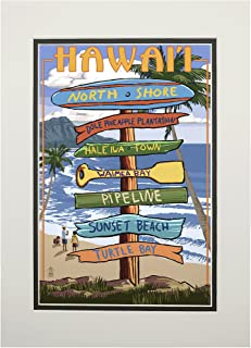 product image for North Shore, Oahu, Hawaii - Destinations Sign (11x14 Double-Matted Art Print, Wall Decor Ready to Frame)