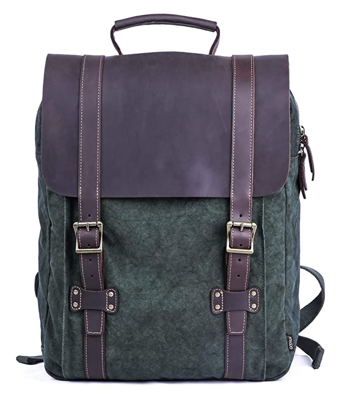 Gootium Tie-Dyed Backpack - Canvas Leather Travel Daypack Vintage Rucksack