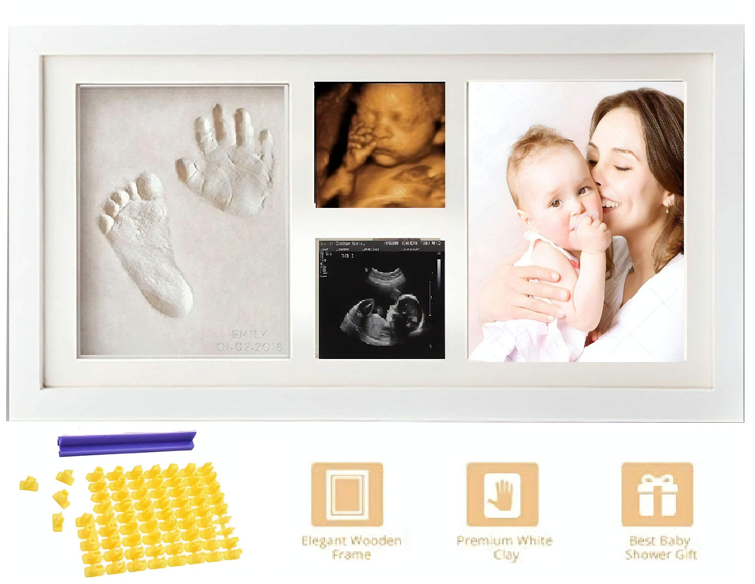 Baby Handprint and Footprint KIT & Ultrasound Picture Frame - with Silicone Mold