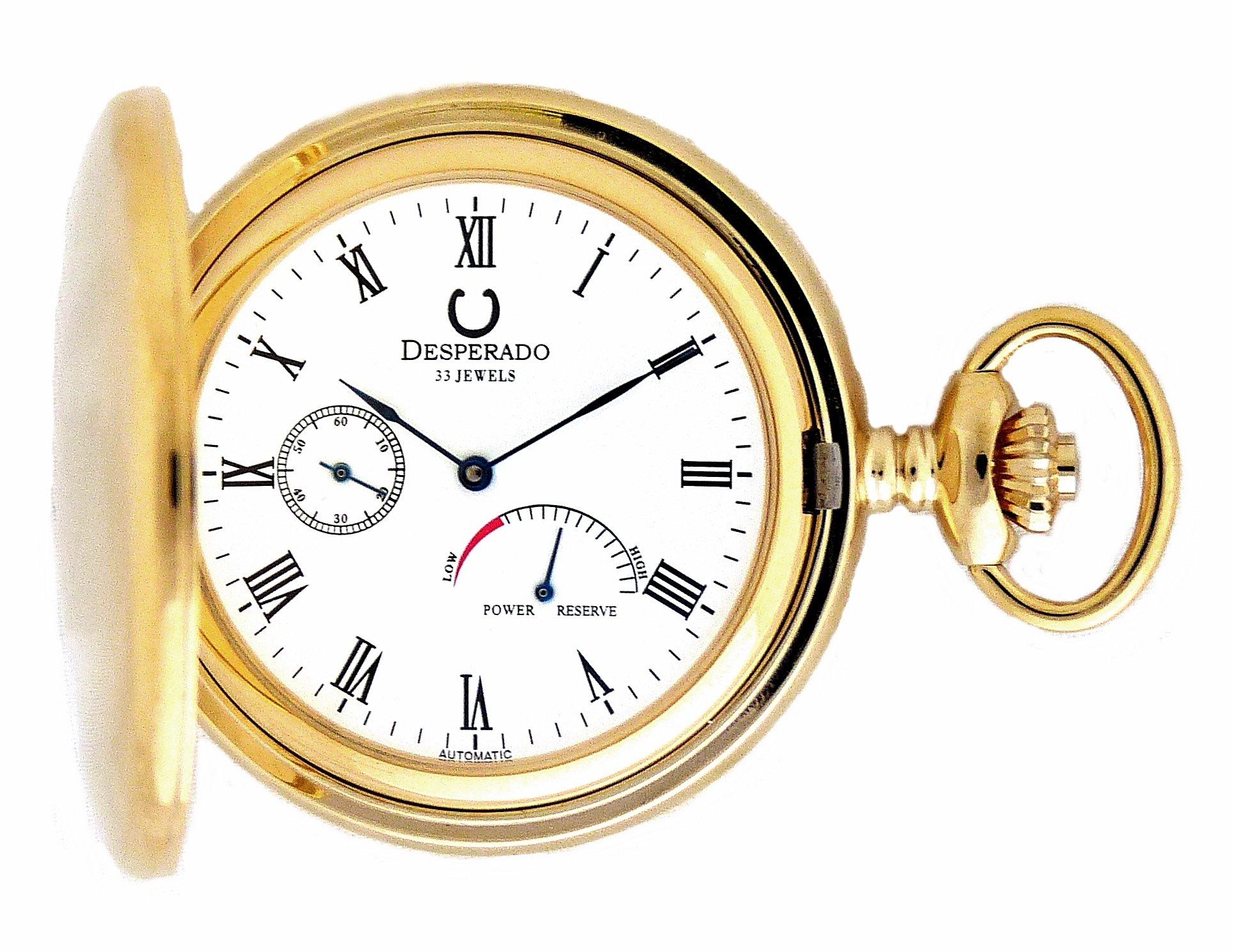 Desperado 530G Automatic Pocket Watch with Power Reserve Indicator 33 Jewels by Desperado