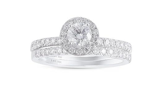 Diamond Studs Forever 14K White Gold Diamond Halo Wedding Ring Set (1.00 Ct tw, IGI USA Cert. GH/I1)