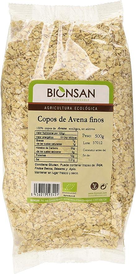 Bionsan Copos De Avena Finos Ecológicos - 4 bolsas de 500gr -Total: 2000gr