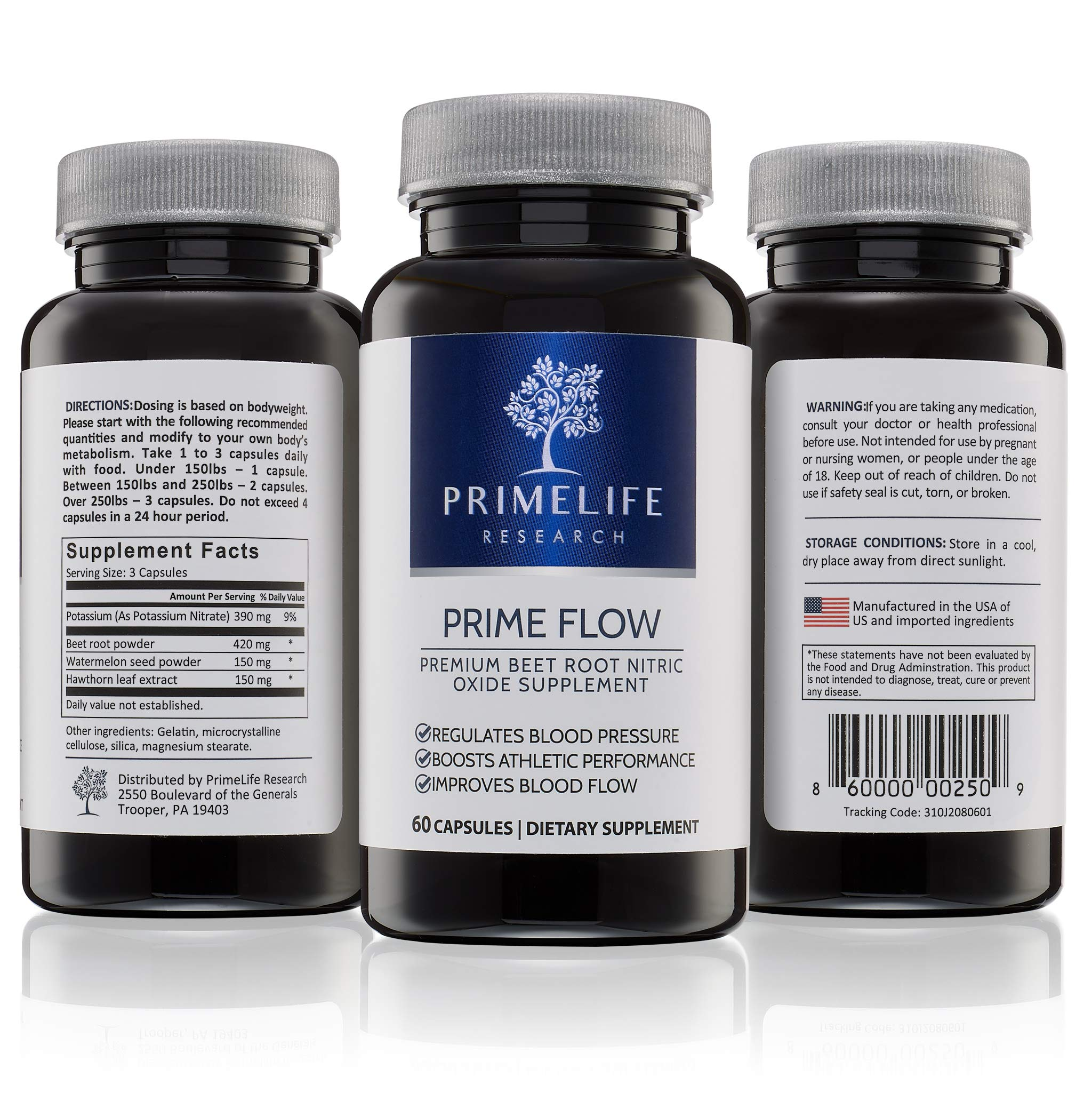 Beet Root Nitric Oxide Supplement - Prime Flow | Daily Dietary Nitrate Supplement | Lower Blood Pressure Naturally | Improve Heart Health | Increase Blood Flow and Circulation by PrimeLife Research (Image #3)