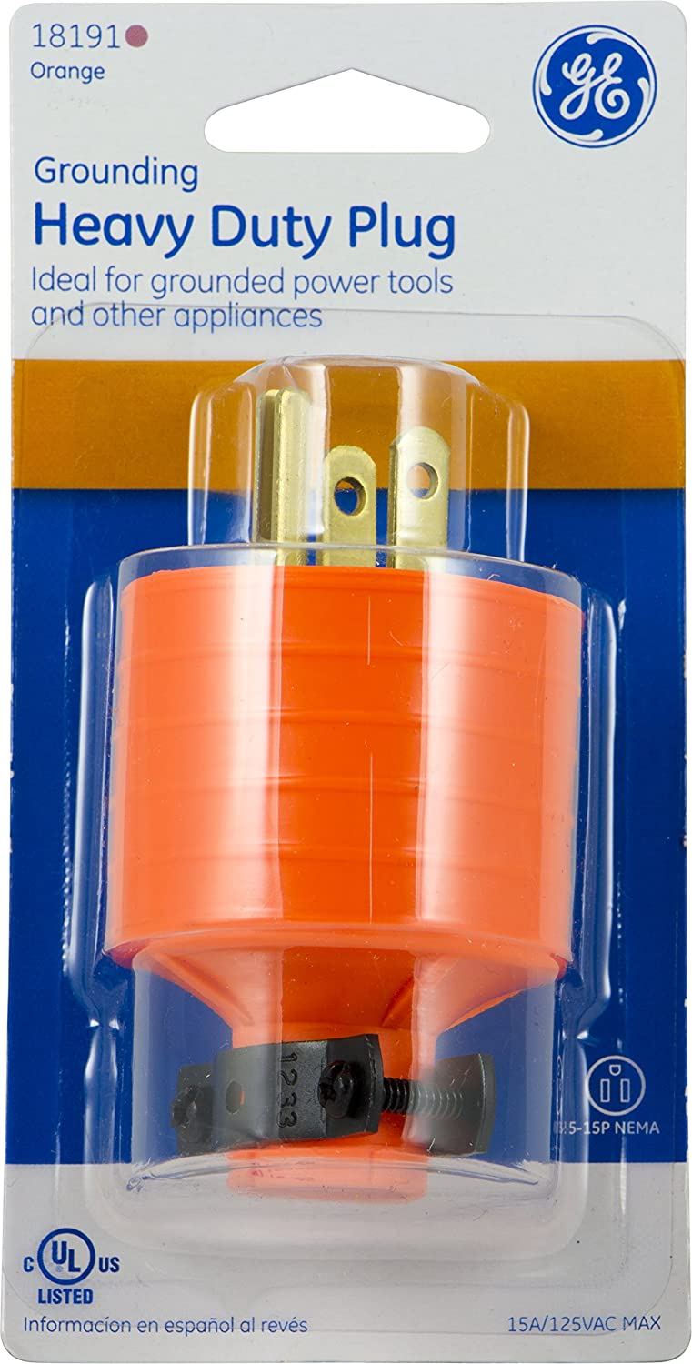 New GE 18191 Heavy Duty 15 AMP Grounded Plug with Black Metal Clamp Orange