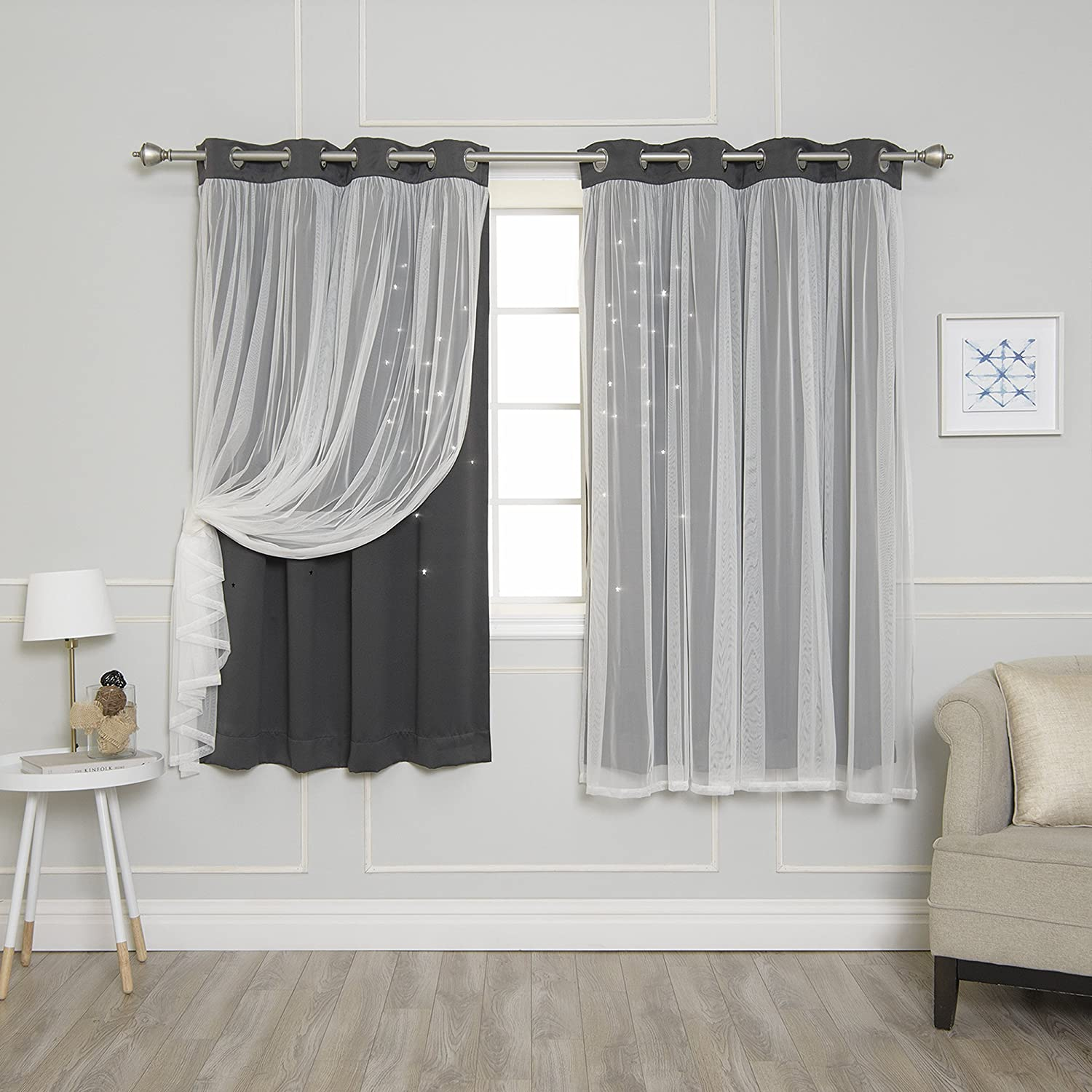 """Best Home Fashion Tulle Overlay Star Cut Out Blackout Curtains - Stainless Steel Grommet Top - Dark Grey - 52"""" W x 63"""" L (Set of 2 Panels)"""