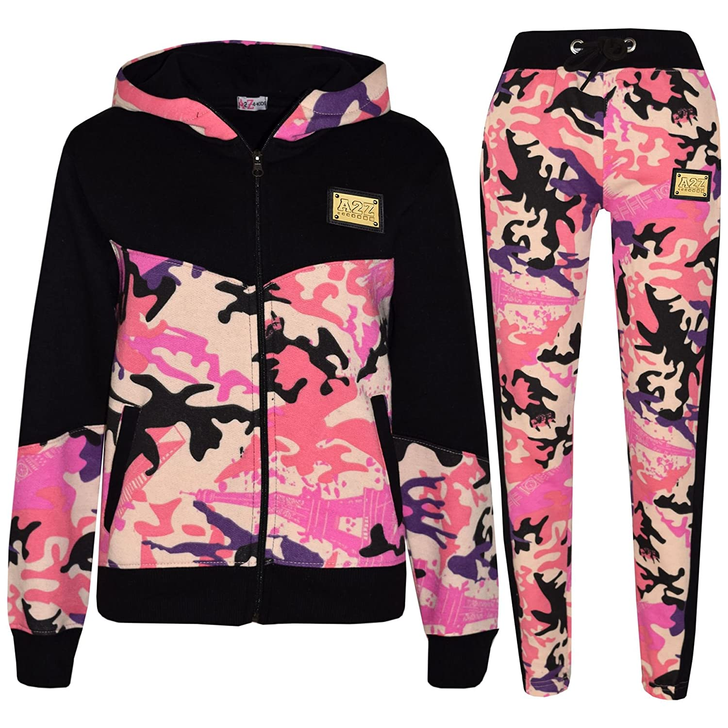 A2Z 4 Kids® Kids Girls Tracksuit Designer's A2Z Badged Camouflage Baby Pink Contrast Panel Hooded Top Botom Jogging Suit Age 5 6 7 8 9 10 11 12 13 Years