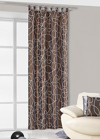 Curtains Ideas chocolate brown tab top curtains : 140 x 245 CM brown / cream chocolate Tab Top Curtains-Chocolate ...