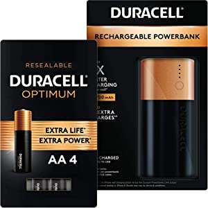 Duracell Rechargeable Powerbank - 6700 mAh + Optimum AA Alkaline Batteries - 4 Count