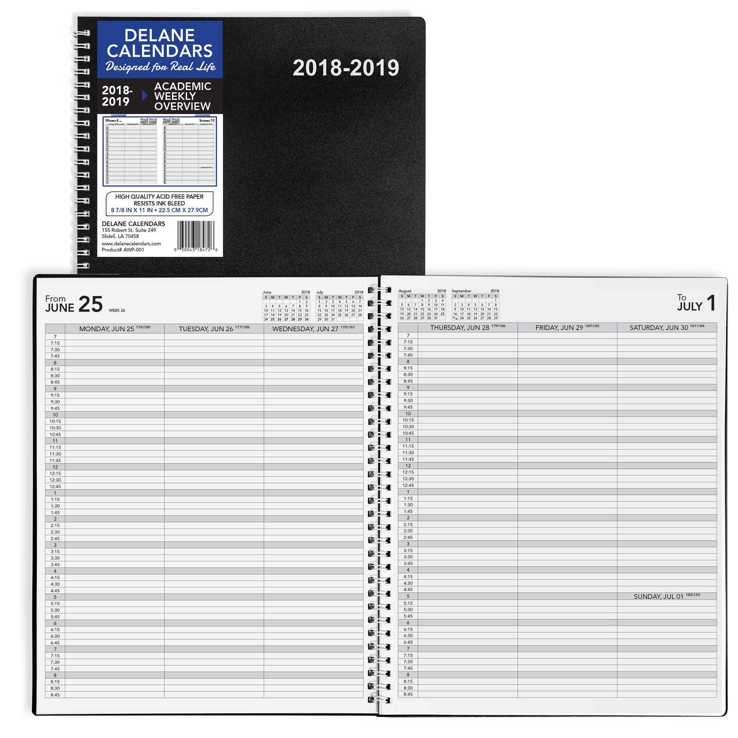 2018-2019 Academic Weekly Planner Appointment Book, 8.5 x 11 inches, Premium Paper, Daily Hourly Planner, Black