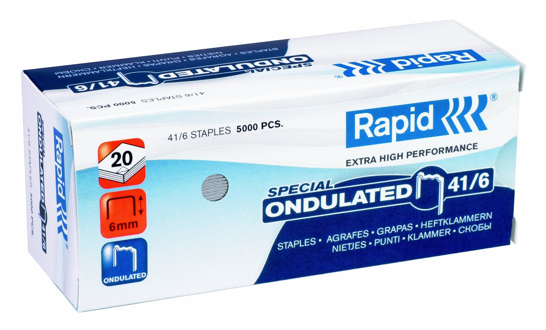 Rapid 24874000 1/4-Inch 41 Series Undulated Staples for K41 Pliers Stapler, 5000 per Box