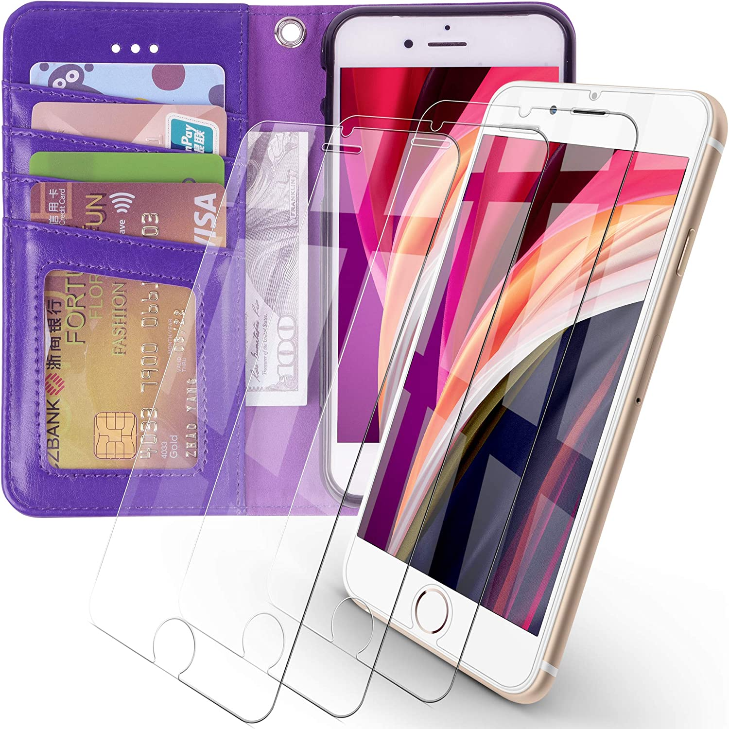 Arae iPhone 7 / iPhone 8 / iPhone SE 2020 Premium PU Leather Flip Cover Wallet Case (Purple) with 3 Pack Ultra-Thin HD Tempered Glass Screen Protectors, 4.7 inch