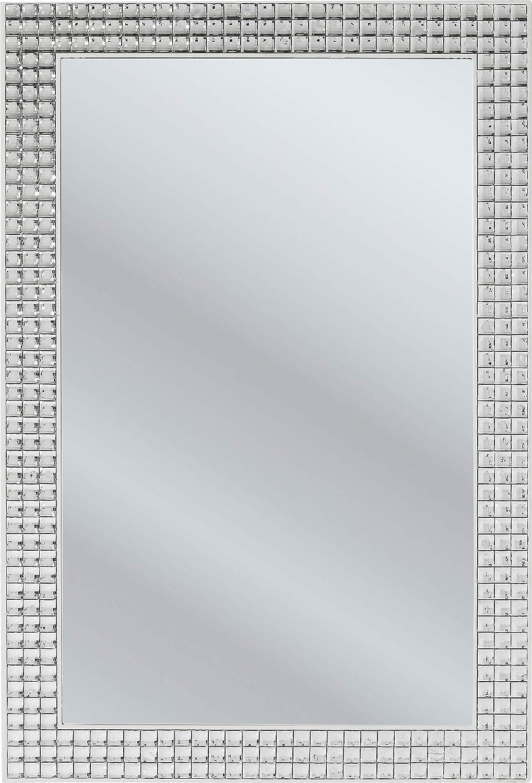 Kare Design Spiegel Crystals, 120x80cm, kleiner Wandspiegel, Schminkspiegel silber, Badspiegel mit Kristall Rahmen, Flurspiegel (H/B/T)120x80x4cm