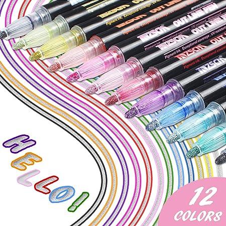 Los bolígrafos de contorno más nuevos, YITHINC 12 colores, bolígrafos de contorno de doble línea, tarjeta de regalo, bolígrafos de dibujo para ...