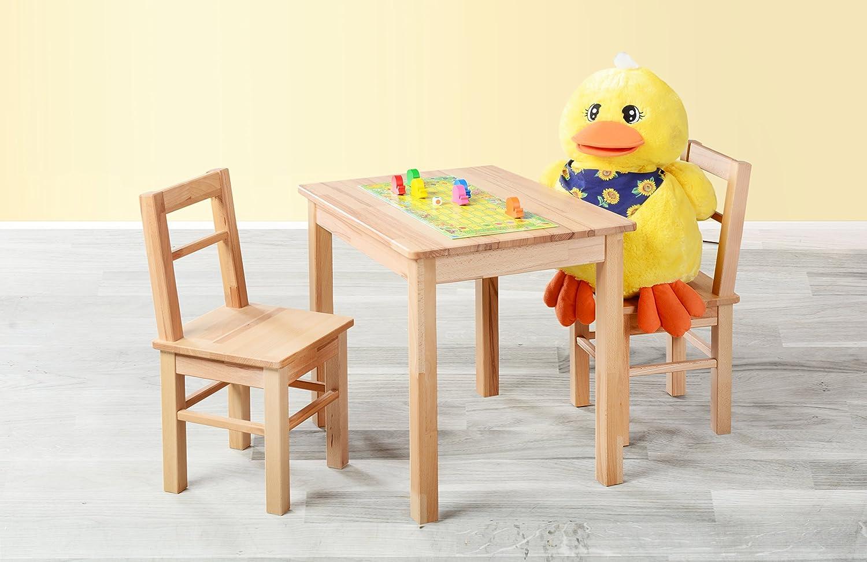 Kindersitzgruppe 3-tlg. Tisch + 2 Stühle, aus kernbuche massiv Holz Möbeldesign Team 2000 GmbH 1199