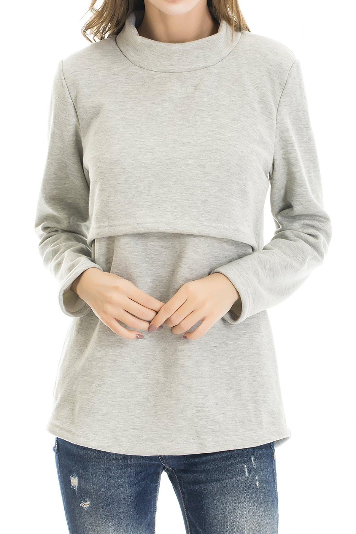 Smallshow Women's Fleece Nursing Tops Shirts Long Sleeve Breastfeeding Clothes Medium Light Grey