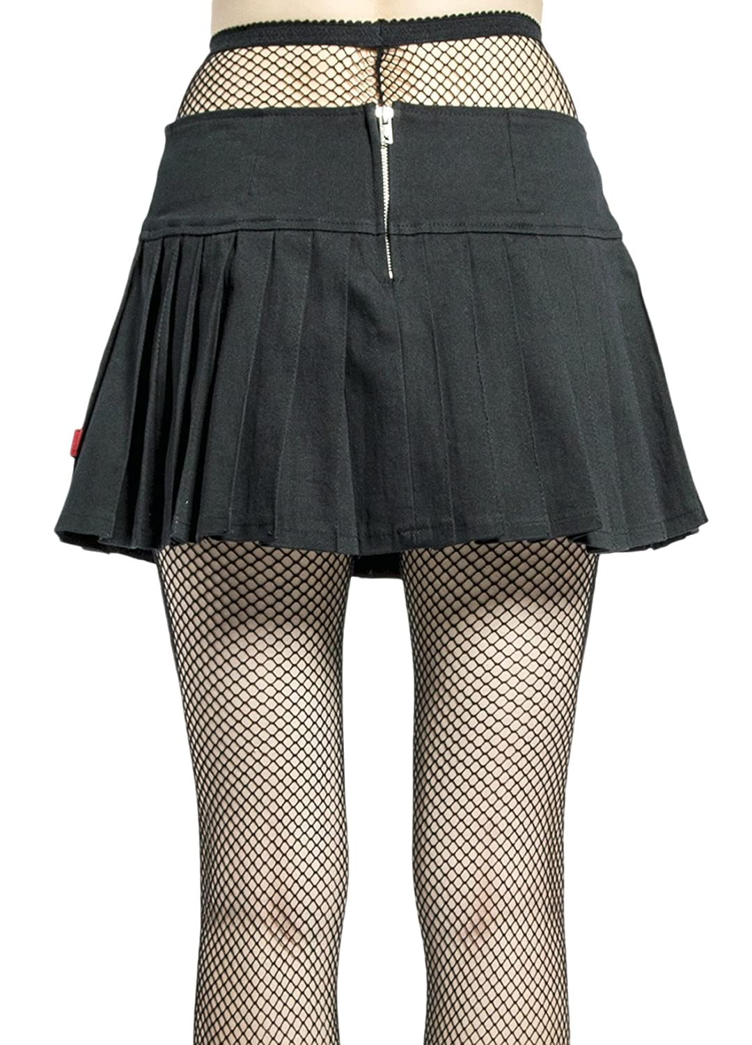 45e0d23d8f Tripp NYC Gothic Punk Metal Rock Star Band Black Pleated Belted Mini Skirt  (M) at Amazon Women's Clothing store: