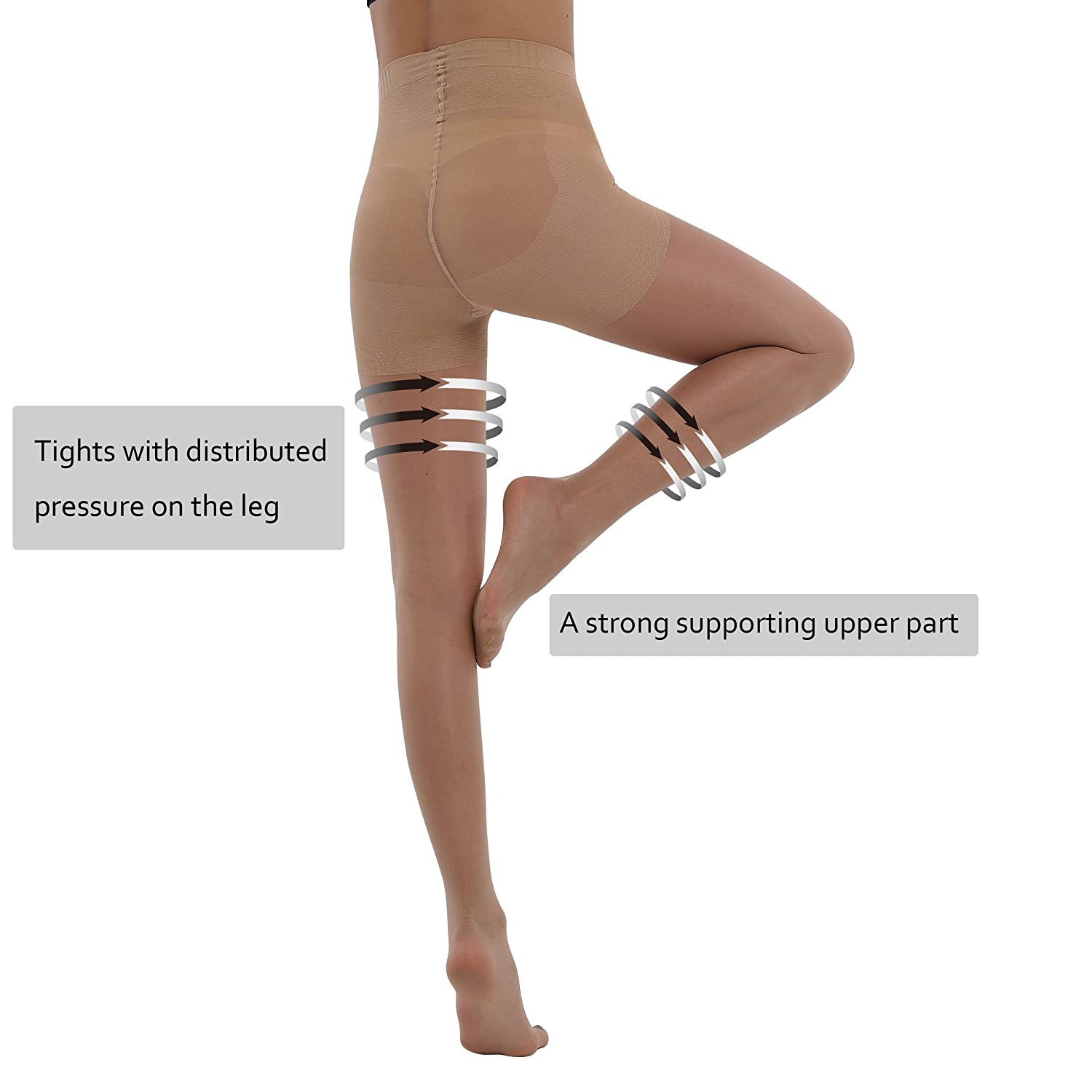 8832f080bf5 BONAS Bodyshaper Pantyhose 3Pack High Waisted Shock Up Silky Stockings  Control Top Tights at Amazon Women s Clothing store