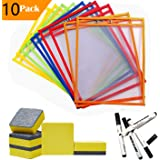 Dry Erase Pocket Sleeves Sheets/w Mini Dry Erasers Cleaner & Black Dry Erase Markers