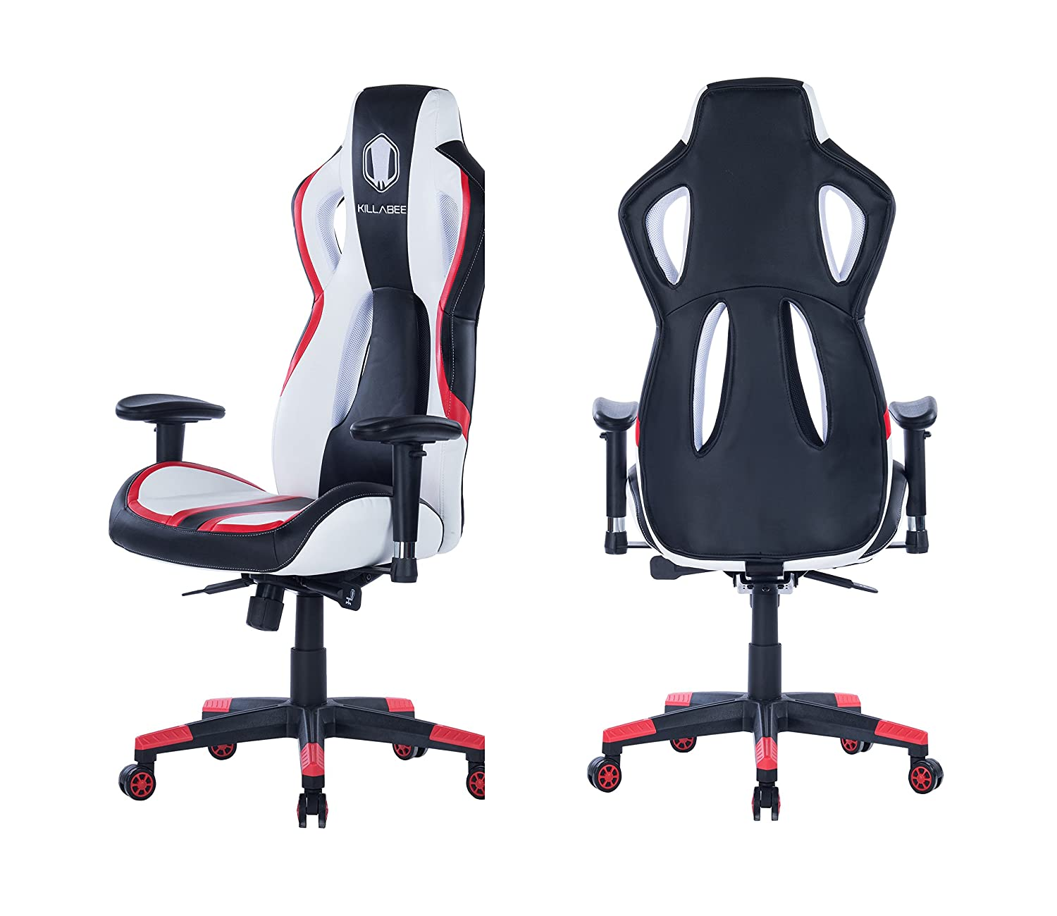 HEALGEN Gaming Chair Racing Style High-Back PU Leather Office Chair PC Desk Chair Executive and Ergonomic Swivel Chair Red